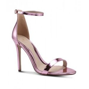 Women's NEW Pink Metallic Belted Strappy Heels, 8